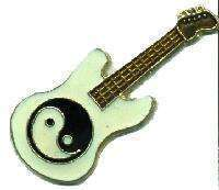 12 Pins - YIN YANG GUITAR , ying hat lapel pin #4125