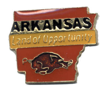 12 State Pins - ARKANSAS , states hat lapel pin #196