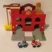 Tonka Town Chuck and Friends Fold N Go Fire Station and 2 Diecast Trucks Hasbro  - $19.99
