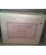 Full Sheet Set 300 thread Count White Cotton Sateen Deep Pockets - New i... - $19.55