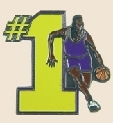 12 Pins - #1 w/ BASKETBALL PLAYER , sports pin sp102 Bonanza