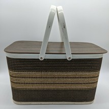Vintage Redmon Picnic Basket Brown Wood Wicker Basket cottagecore boho d... - $36.00