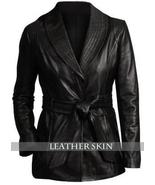 Belted Black Women Ladies Fashion Stylish Premium Genuine Leather Jacket Coat - $179.99