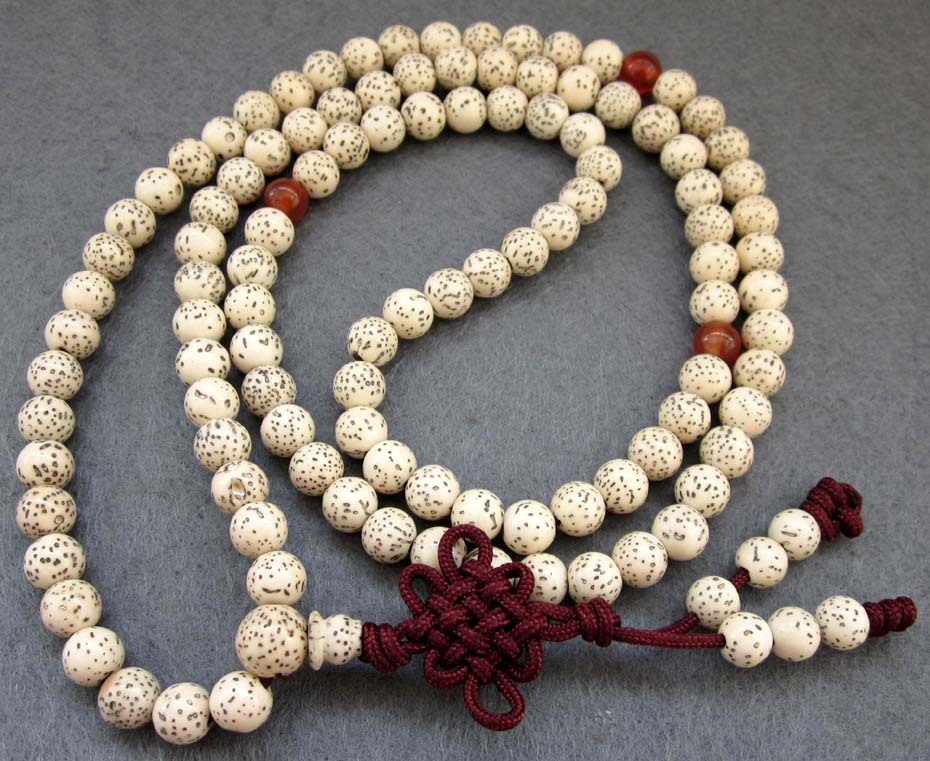 Tibetan 108 Natural WHITE SANDALWOOD Meditation Prayer Beads