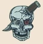 12 Pins - SKULL w/ KNIFE , dagger hat lapel pin sp316