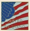 12 Pins - UNITED WE STAND w/ AMERICAN FLAG , pin sp016
