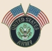 12 Pins - US ARMY w/ 2 AMERICAN FLAGS , flag pin sp124