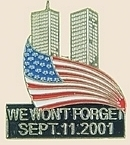12 Pins - WE WON`T FORGET SEPTEMBER 11TH flag pin sp096