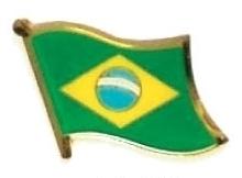 BRAZIL - Wholesale lot of 12 flag hat lapel pins ef037
