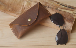 Sunglasses Leather Case Cover,Handmade Eyeglasses Bag Portable Outdoor B... - $14.85
