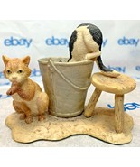"Lowell Davis ""Barn Cats"" Figurine  1984 Schmid Milk Bucket Stool 225257 - $64.33"