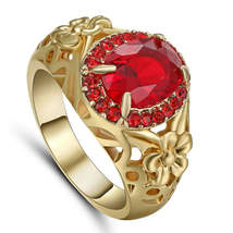 WEDDING SHOWER RED RUBY RING  ** SIZE 9 **  #9526 >> COMBINED SHIPPING - $5.75