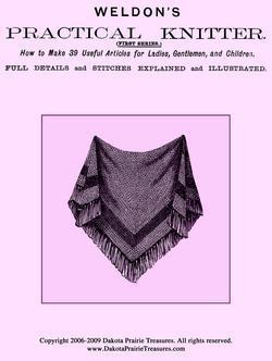c1885 Victorian Era Knitting Pattern Book Fingerless Mittens Shawl Gloves Hood 1