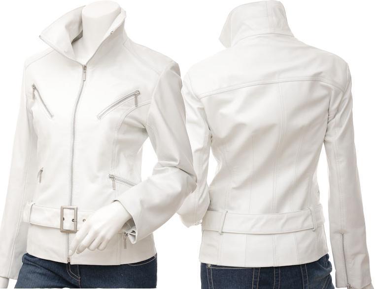 NWT Hot White Angle Women Ladies Belted Premium Leather Jacket w stylish pockets
