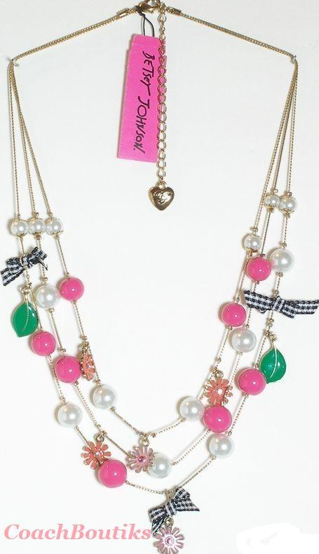 Betsey Johnson Flower Girl Hot Pink Pearl Necklace NWT B03173-N01