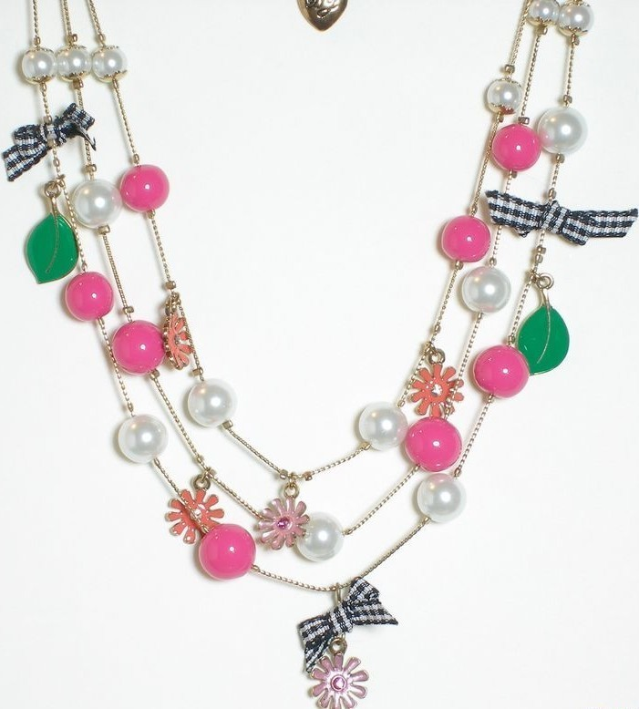 Betsey Johnson Flower Girl Hot Pink Pearl Necklace NWT B03173-N01 image 2