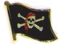 PIRATE SKULL AND CROSSBONES - lot of 12 flag pins ef267