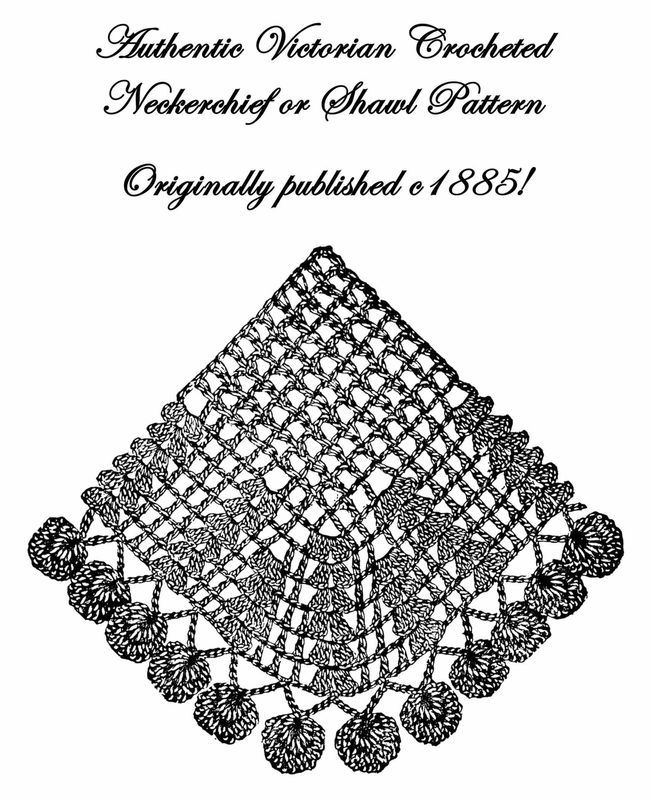 c1885 Victorian Shawl Crochet Pattern Historical Village Reenactment Wrapper 2