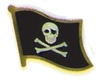 SKULL AND CROSSBONES - lot of 12 pirate flag pins ef266