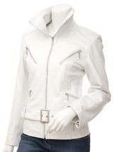 NWT Hot White Angle Women Ladies Belted Premium Leather Jacket w stylish pockets image 2