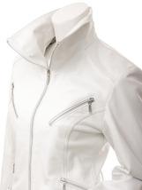 NWT Hot White Angle Women Ladies Belted Premium Leather Jacket w stylish pockets image 4