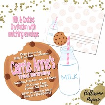 Milk & Cookies Birthday Invitation with Matching Envelope Cookie cutout ... - £9.60 GBP