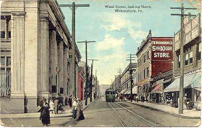 Wood Street Trolley Wilkinsgurg Pennsylvania 1913 vintage Post Card image 2