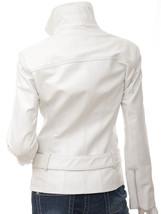 NWT Hot White Angle Women Ladies Belted Premium Leather Jacket w stylish pockets image 3