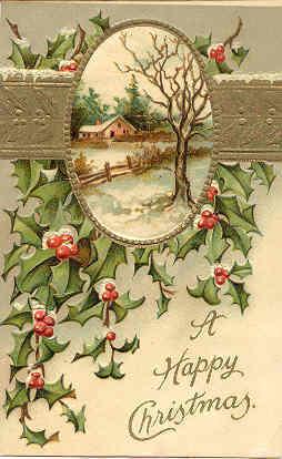 A Happy Christmas International Art Co Vintage Post Card