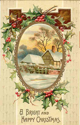 A Bright and Happy Christmas 1909 Vintage Post Card
