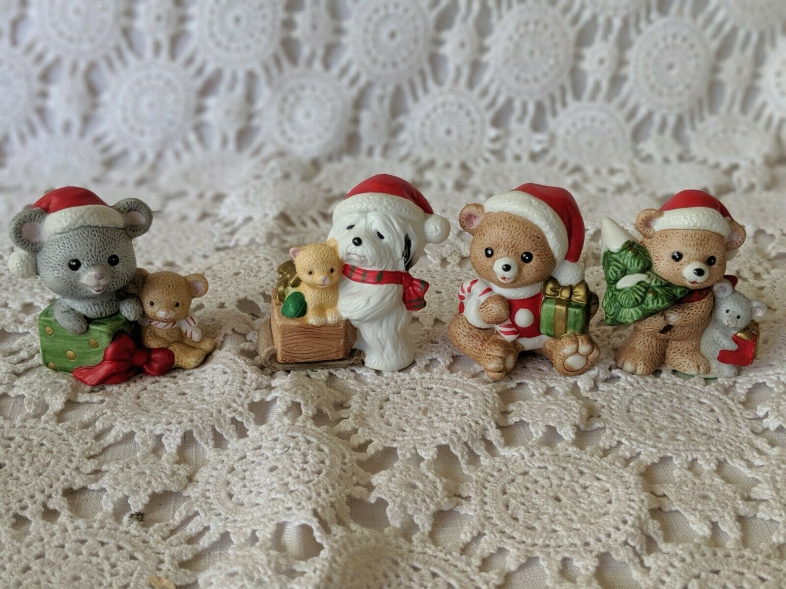 Primary image for Homco Ceramic Animal Figures Christmas Holiday Set of 4 Dog Mouse Bear Kitten