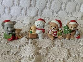 Homco Ceramic Animal Figures Christmas Holiday Set of 4 Dog Mouse Bear Kitten  - $9.69