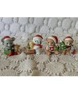 Homco Ceramic Animal Figures Christmas Holiday Set of 4 Dog Mouse Bear K... - $9.69