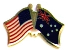 USA AUSTRALIA - 12 WORLD FLAG FRIENDSHIP HAT PINS ec015 image 1
