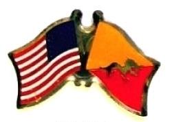 USA BHUTAN - 12 WORLD FLAG FRIENDSHIP LAPEL PINS ec031