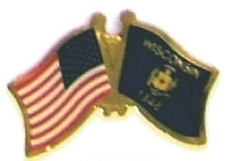 USA WISCONSIN - Lot 12 state flag friendship pins ec550