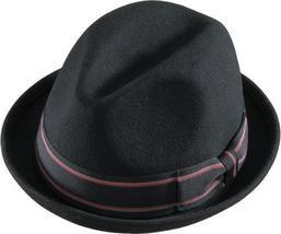 Henschel Wool Felt Gentleman Stingy Brim Fedora Grosgrain Ribbon Band Black - $40.00