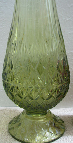 Fenton Colonial Green Fine Cut and Block Stretch Vase image 3