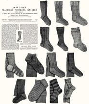 c1900 Victorian Gibson Girl Era Stocking Book Knit Socks Knitting Patterns DIY 3 - $9.99