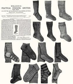 c1900 Victorian Gibson Girl Era Stocking Book Knit Socks Knitting Patterns DIY 3