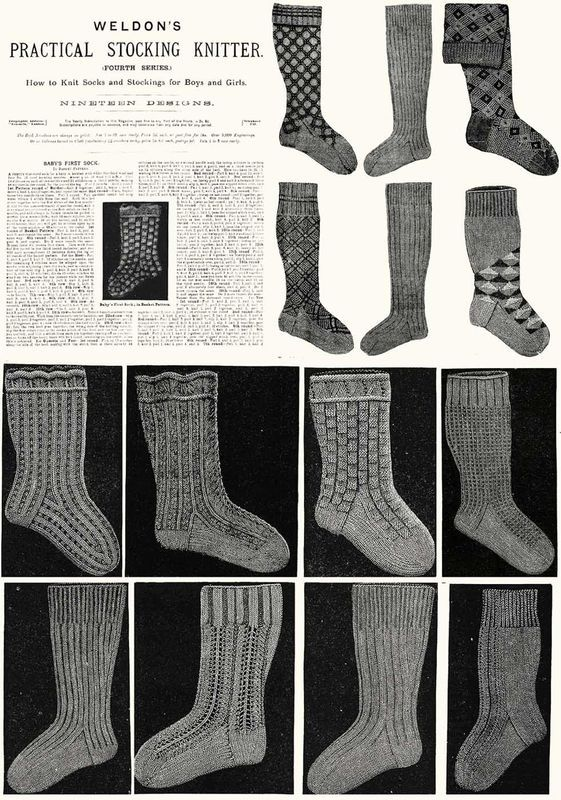 c1900 Victorian Gibson Girl Era Stocking Book Knit Socks Knitting Patterns DIY 4