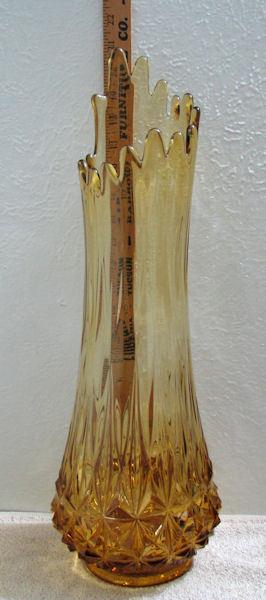 Vintage Fenton Tall Amber Stretch Glass Floor Vase image 2