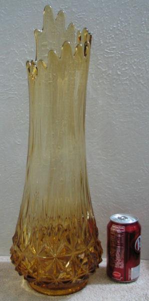 Vintage Fenton Tall Amber Stretch Glass Floor Vase image 4