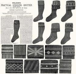 c1900 Victorian Gibson Girl Era Stocking Book Knit Socks Knitting Patterns DIY 5