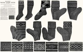 c1900 Victorian Gibson Girl Era Stocking Book Knit Socks Knitting Patterns DIY 6 - $9.99