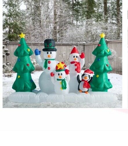 Primary image for NEW 8ft Snowman Family w Penguin Inflatable Christmas Lighted Yard Decor Outdoor