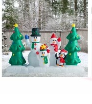 NEW 8ft Snowman Family w Penguin Inflatable Christmas Lighted Yard Decor... - $109.39