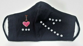"NEW handcrafted ""LOVE FROM A DISTANCE"" face mask black & beads cotton NO... - $27.32"