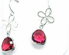 Carded Silver Pink French Rose Drop Earrings - $13.39
