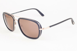 Tom Ford RICCARDO 340 28J Shiny Black Gold / Brown Sunglasses FT340 28J ... - $204.82